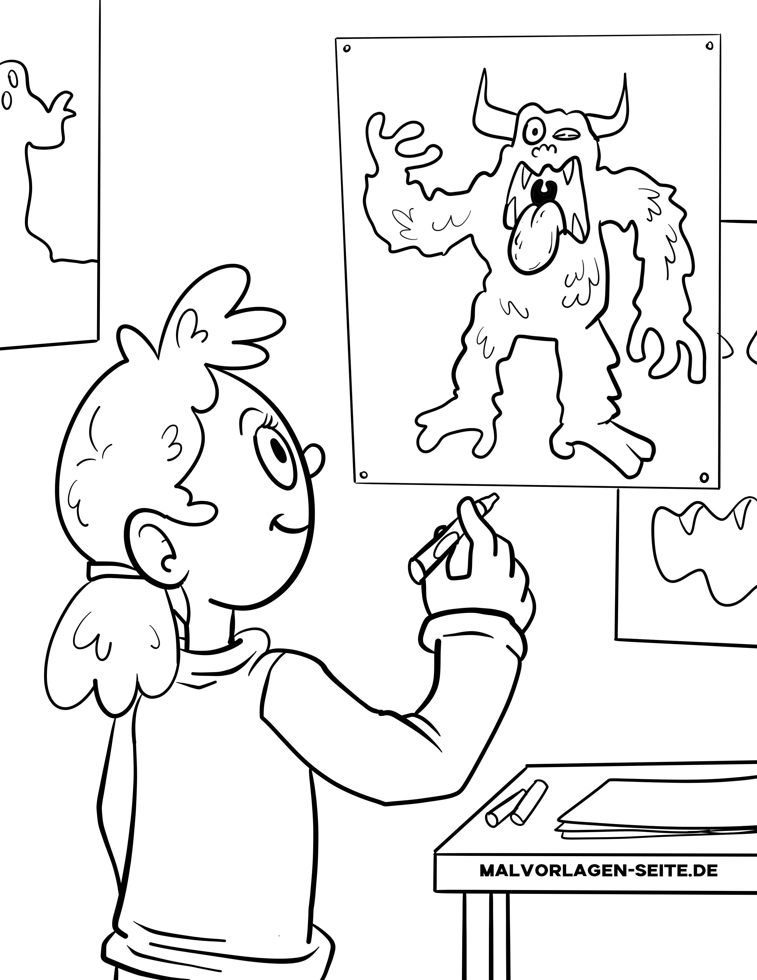ausmalbilder liebe monster  kinder zeichnen und ausmalen