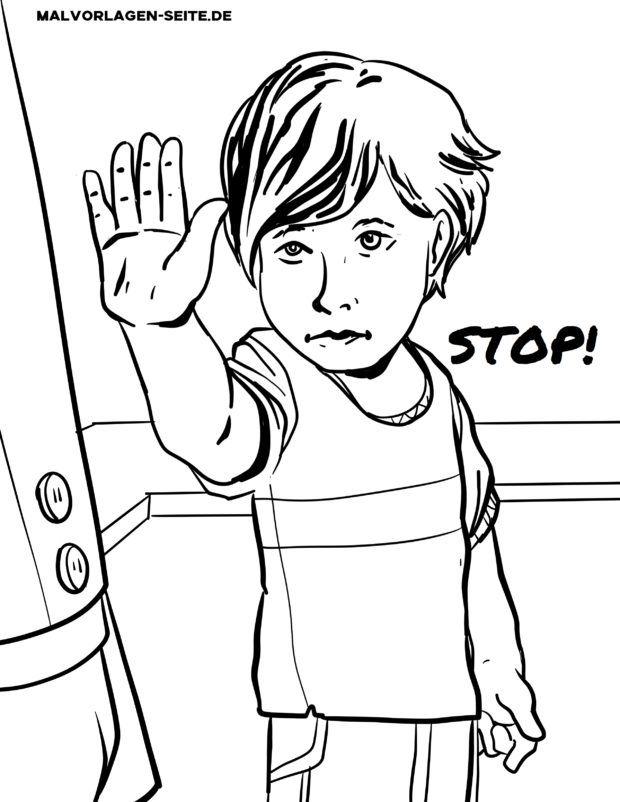 Stranica za bojanje nauči reći ne - stani. Stop. ne želim to