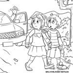 Coloring page Do not get into strange cars | prevention