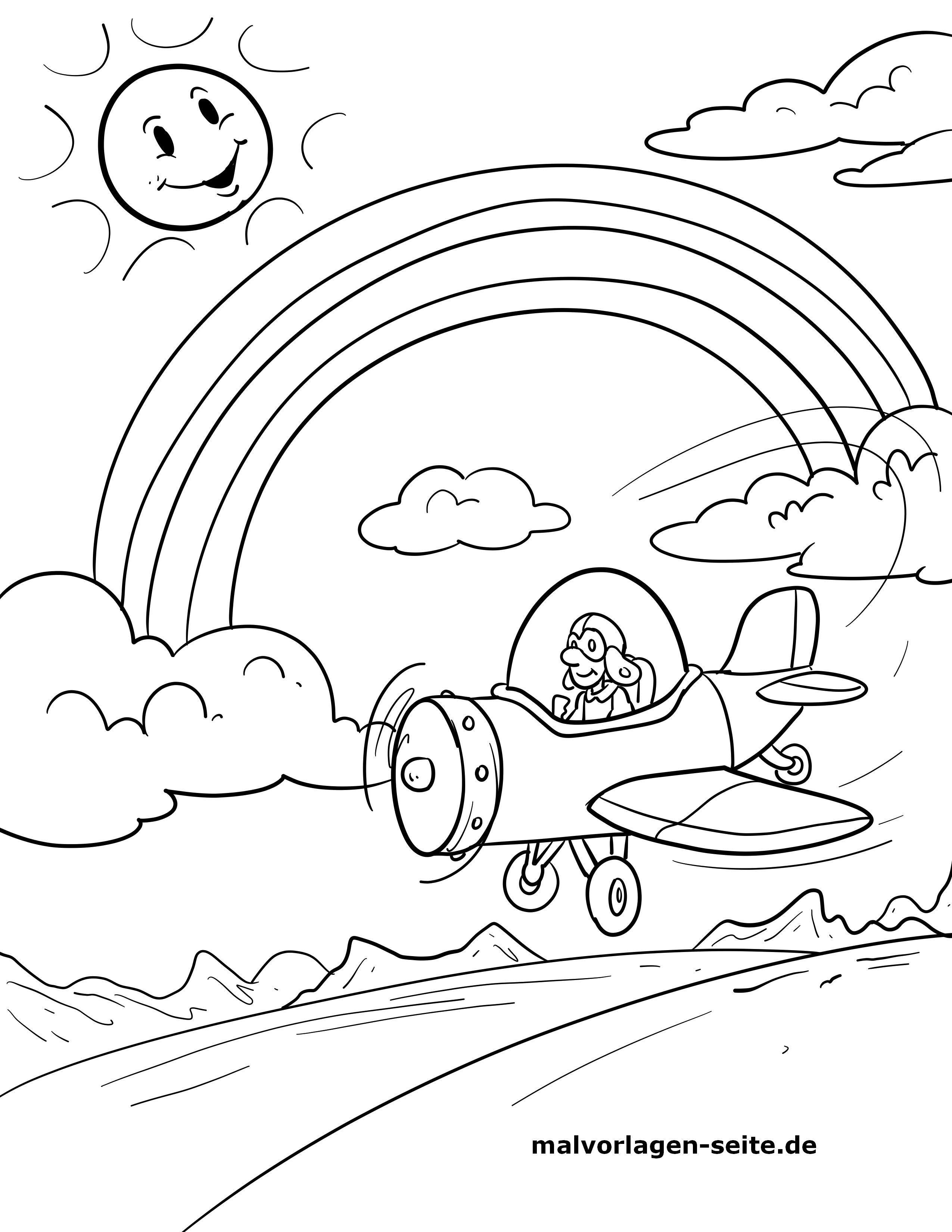 Malvorlage Regenbogen mit Flugzeug - Kostenlose Ausmalbilder
