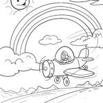 Coloring page rainbow with airplane