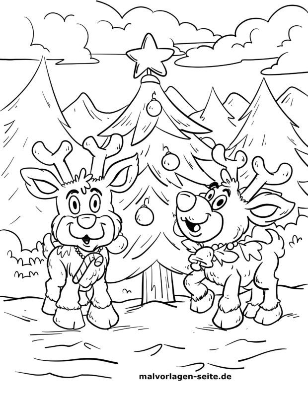 Coloring page reindeer at the Christmas tree