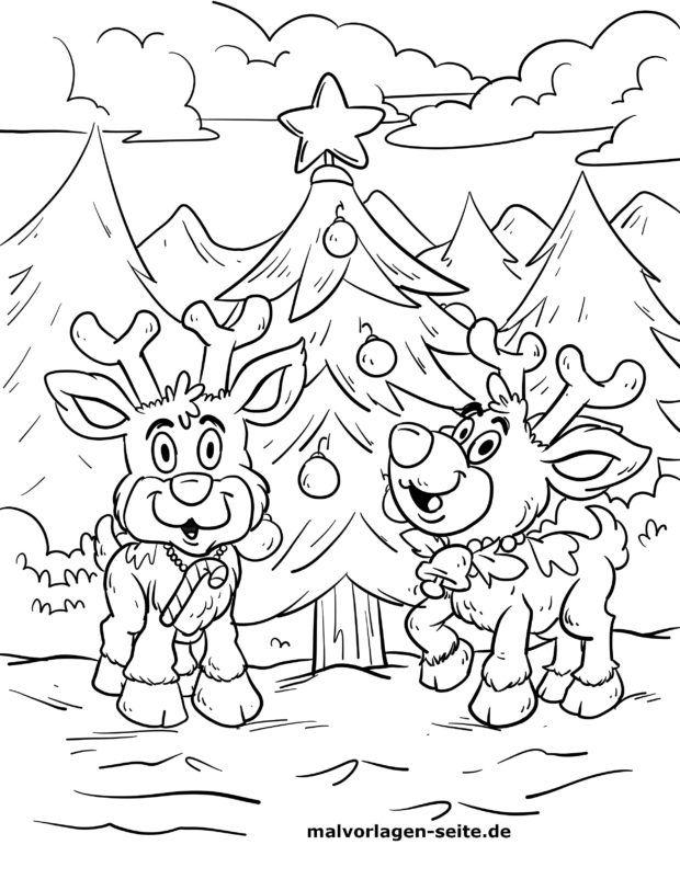 malvorlage rentiere am weihnachtsbaum  weihnachten