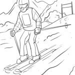 Coloring page skiing slalom | Winter sports