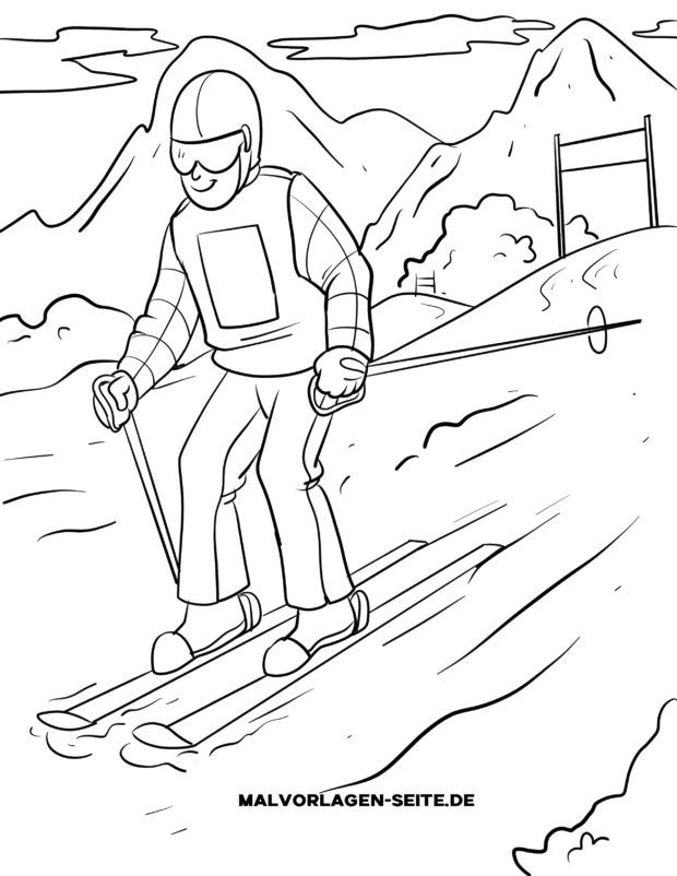 Coloring page skiing slalom