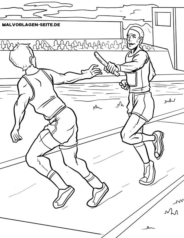 Coloring page relay race athletics