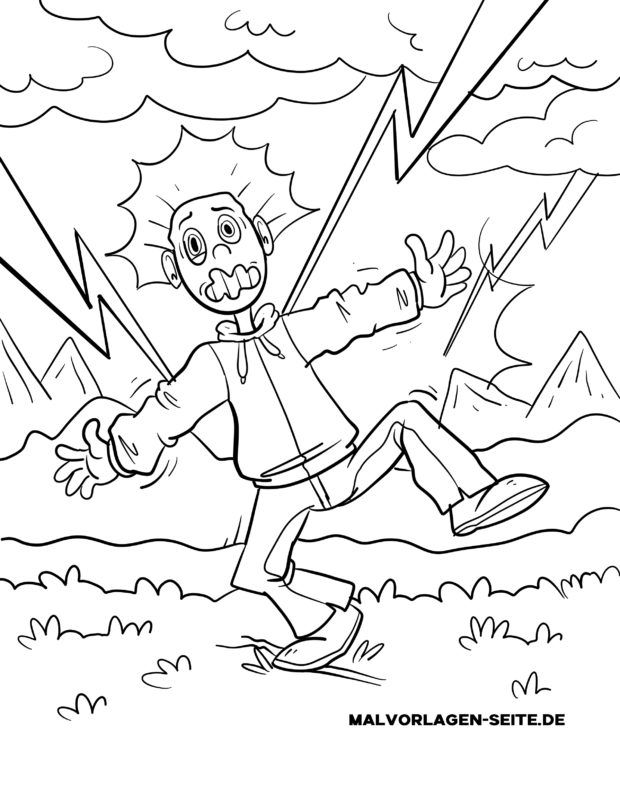 Coloring page Attention during thunderstorms