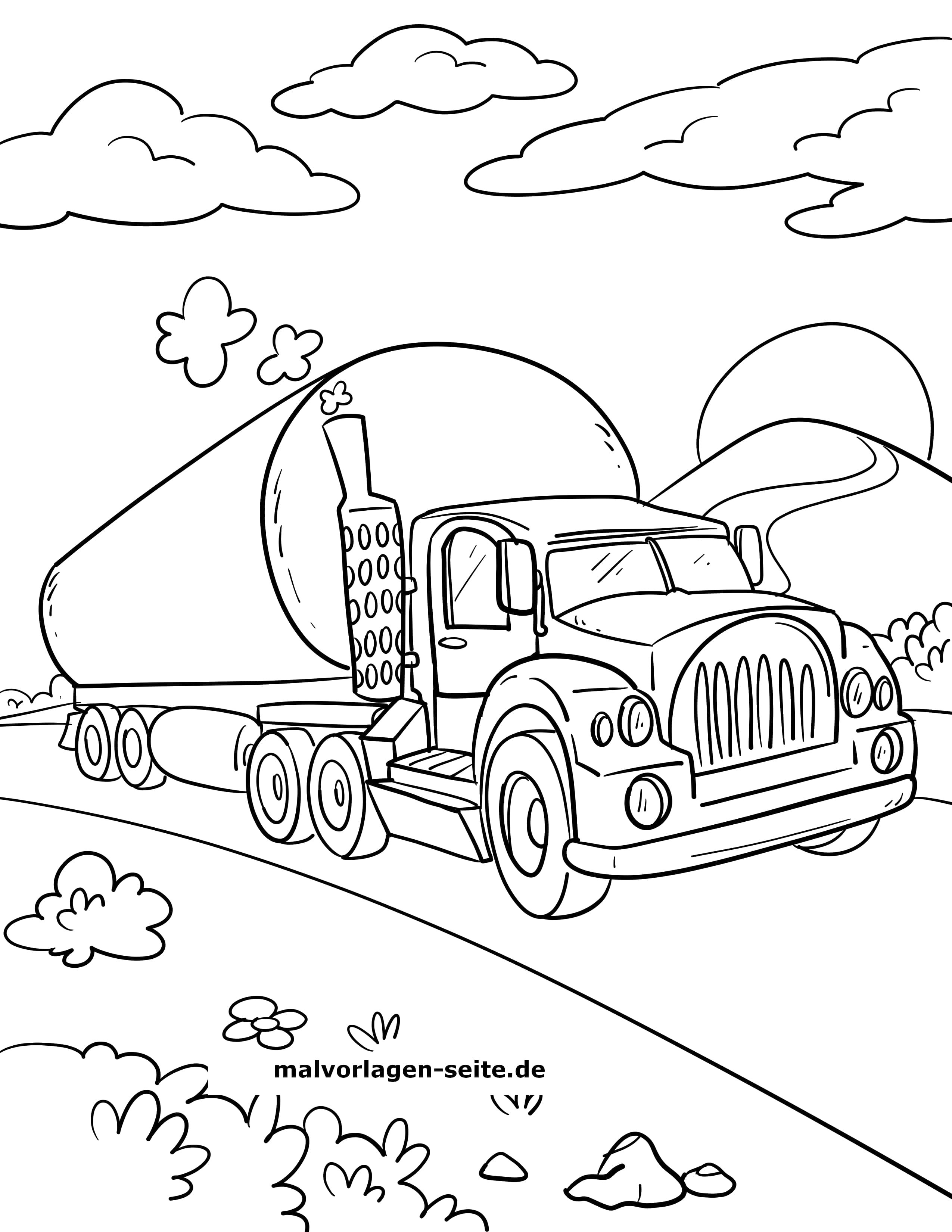malvorlage tanklaster / tankwagen | laster - kostenlose