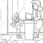 Coloring page Help when mom and dad are gone | prevention