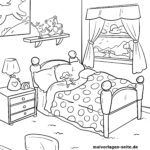 Coloring page bed | Furniture