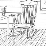 Coloring page rocking chair for coloring