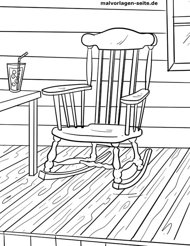 Coloring page rocking chair