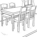 Coloring page table chairs | Furniture