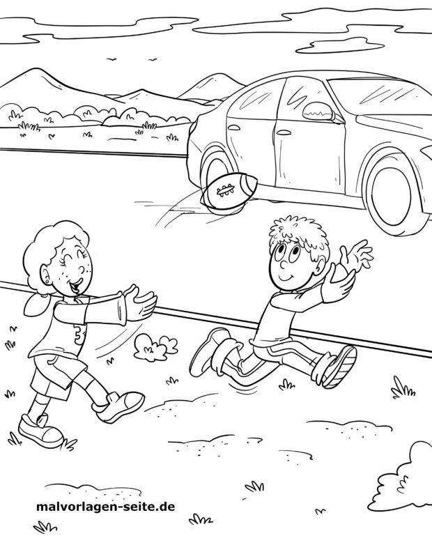 Coloring page Watch out for cars while playing