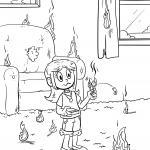 Coloring page Do not play with fire - prevention