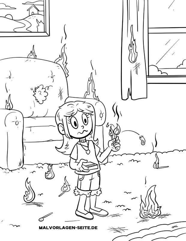 Malvorlage Nicht mit Feuer spielen