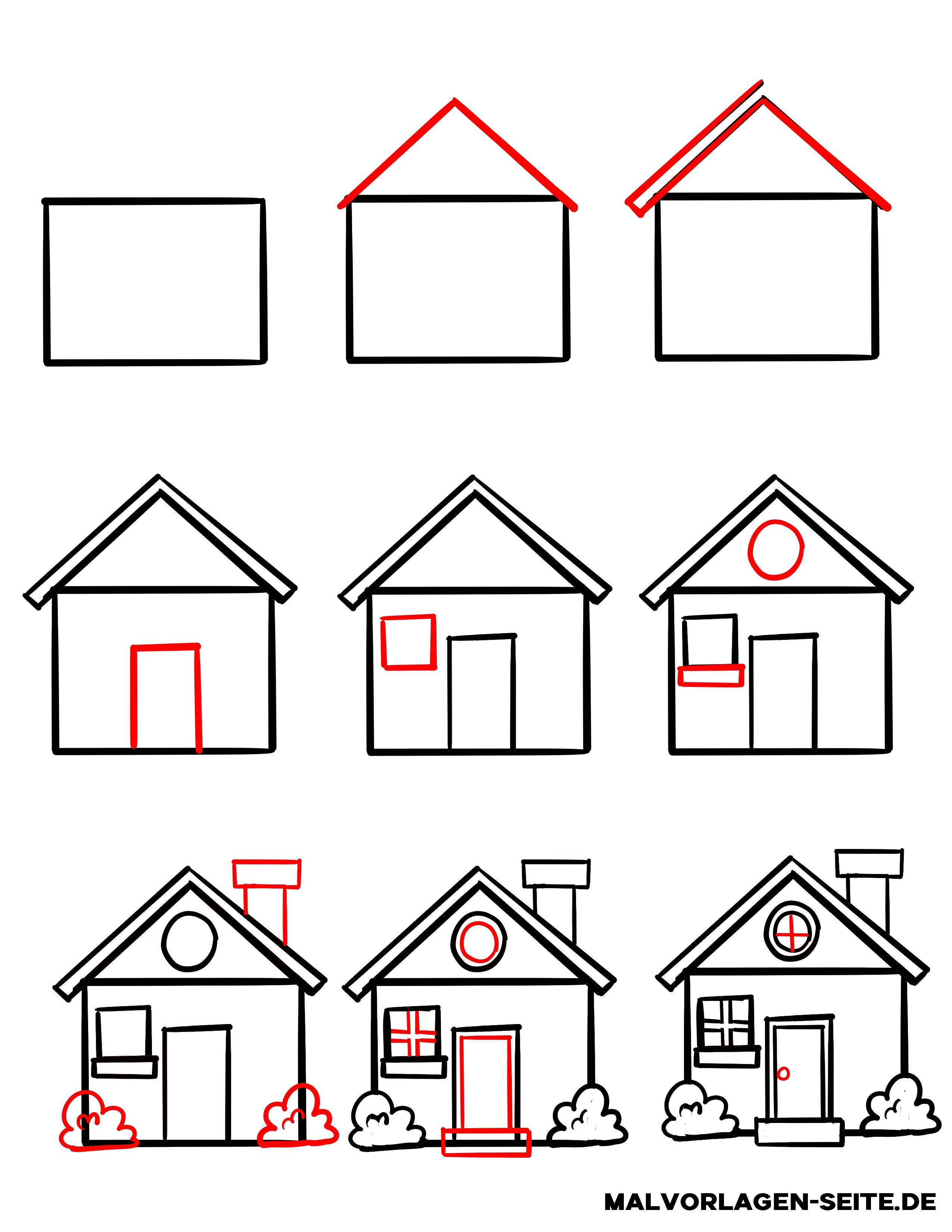 Wie zeichnet man ein Haus - Kostenlose Ausmalbilder