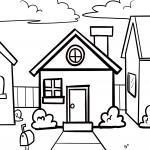Coloring page house for little children to color