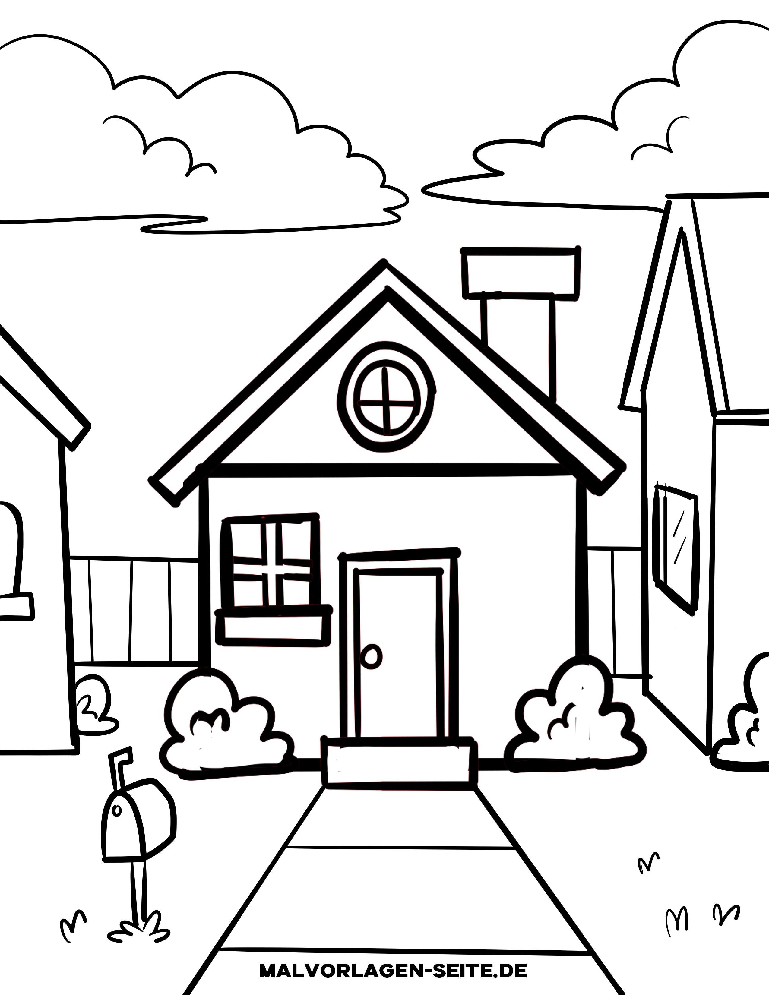 Malvorlage kleine Kinder - Haus - Kostenlose Ausmalbilder