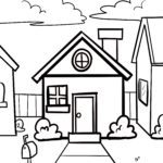 Coloring page small children - house