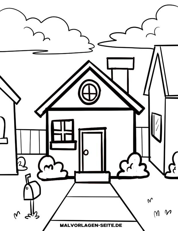 Malvorlage für kleine Kinder - Haus