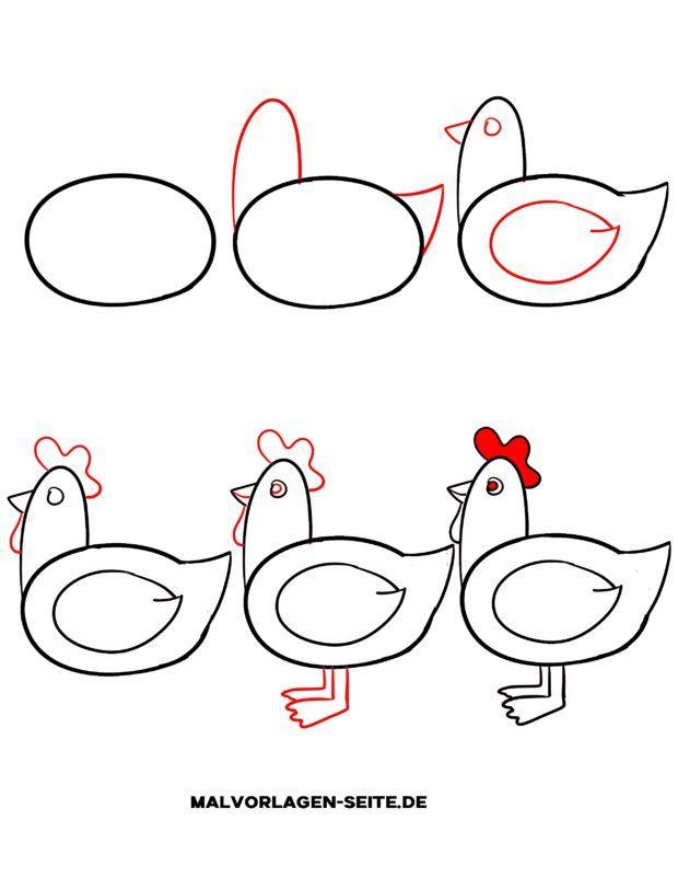 Lær at tegne en kylling