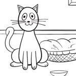 Malvorlage kleine Kinder - Katze