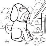 Coloring page for small children - dog for coloring