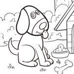 Malvorlage kleine Kinder - Hund