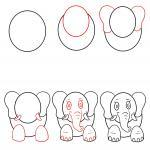How to draw an elephant for children