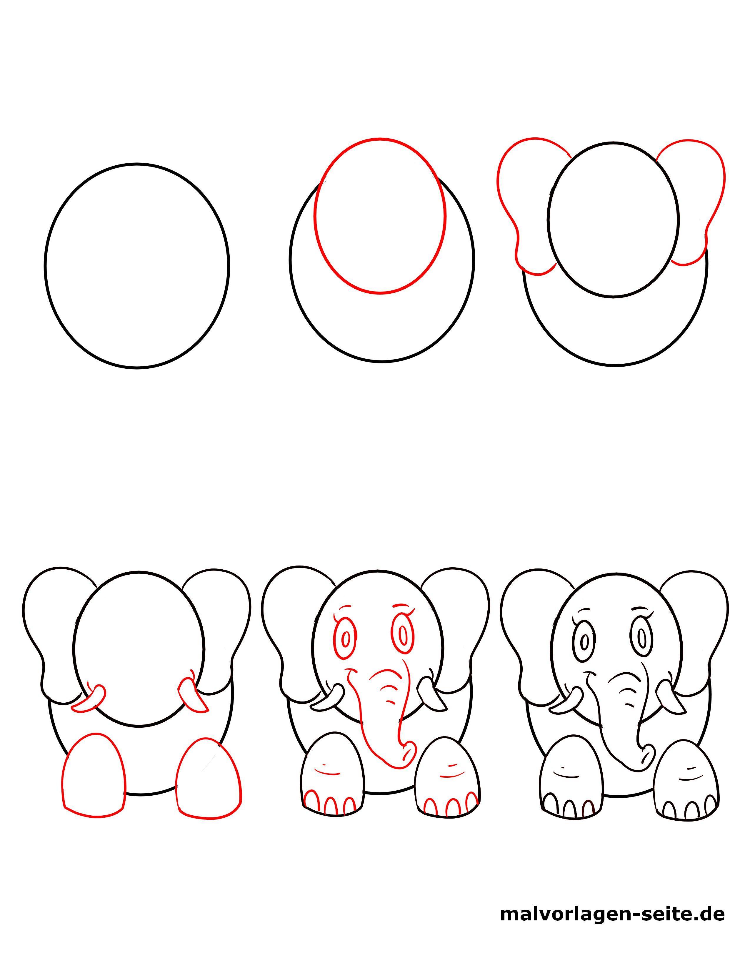 Wie zeichnet man einen Elefant - Kostenlose Ausmalbilder