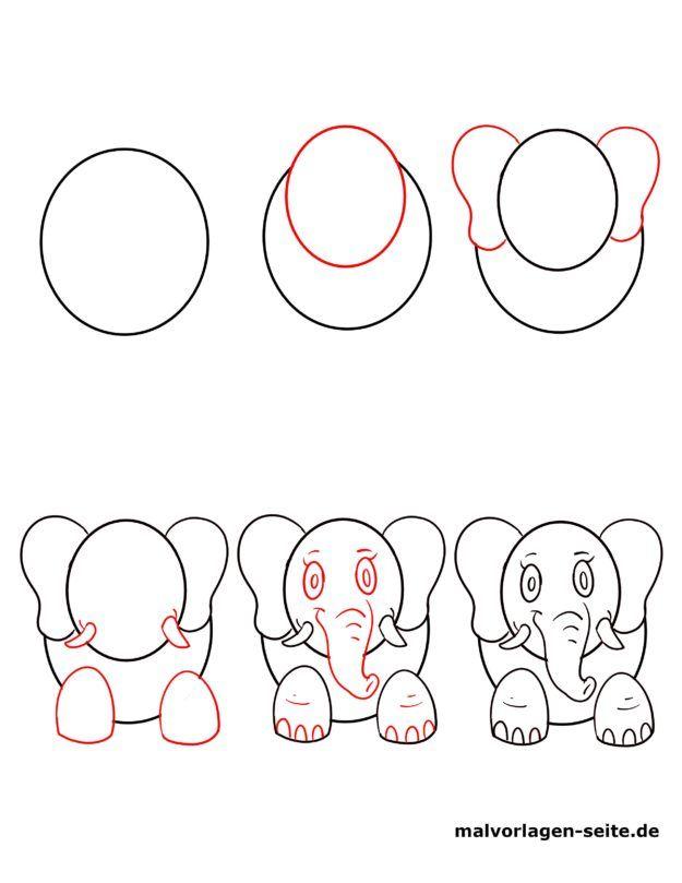 Einen Elefanten zeichnen lernen