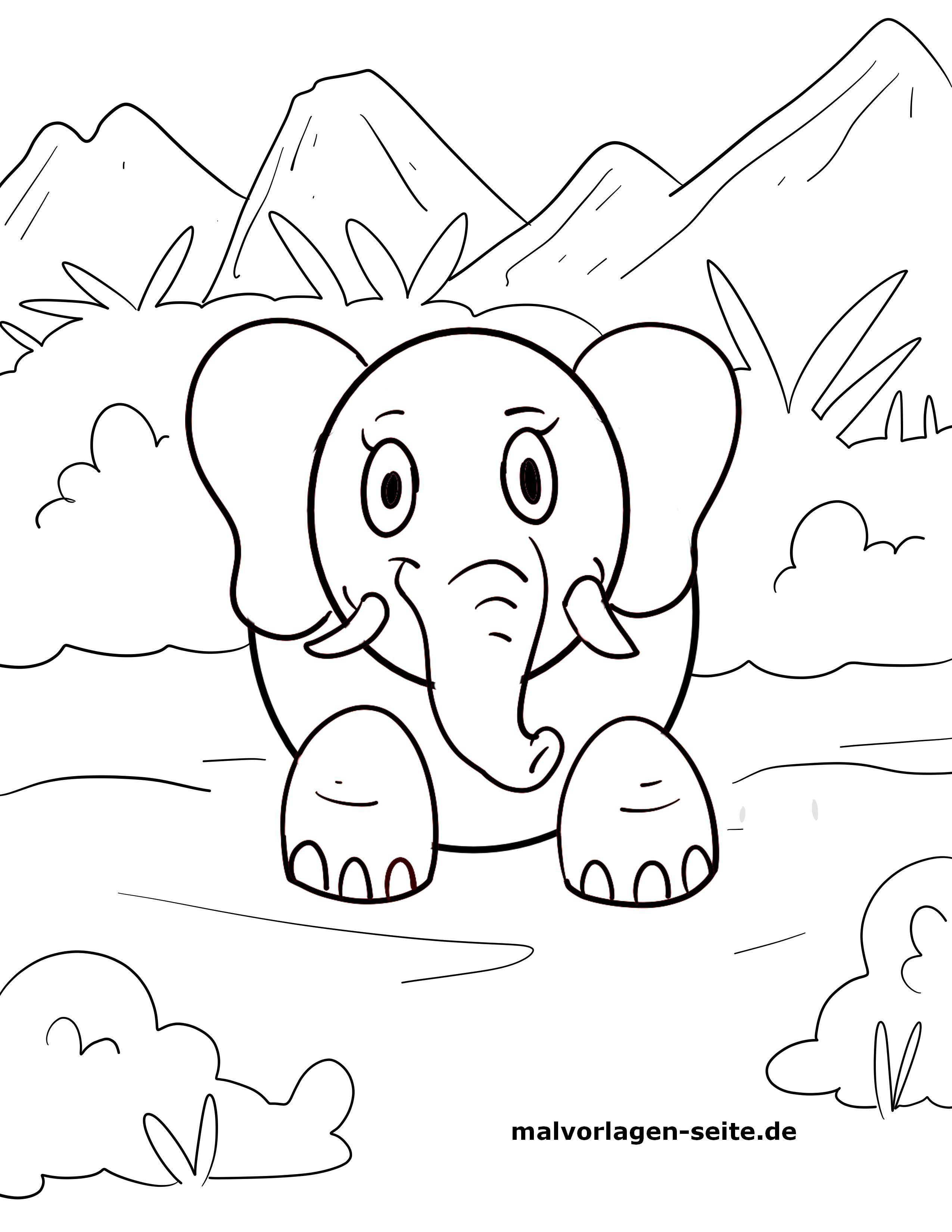 Malvorlage kleine Kinder - Elefant - Kostenlose Ausmalbilder
