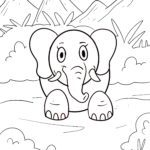 Värityssivu pienille lapsille - norsu