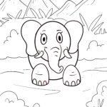 Malvorlage kleine Kinder - Elefant