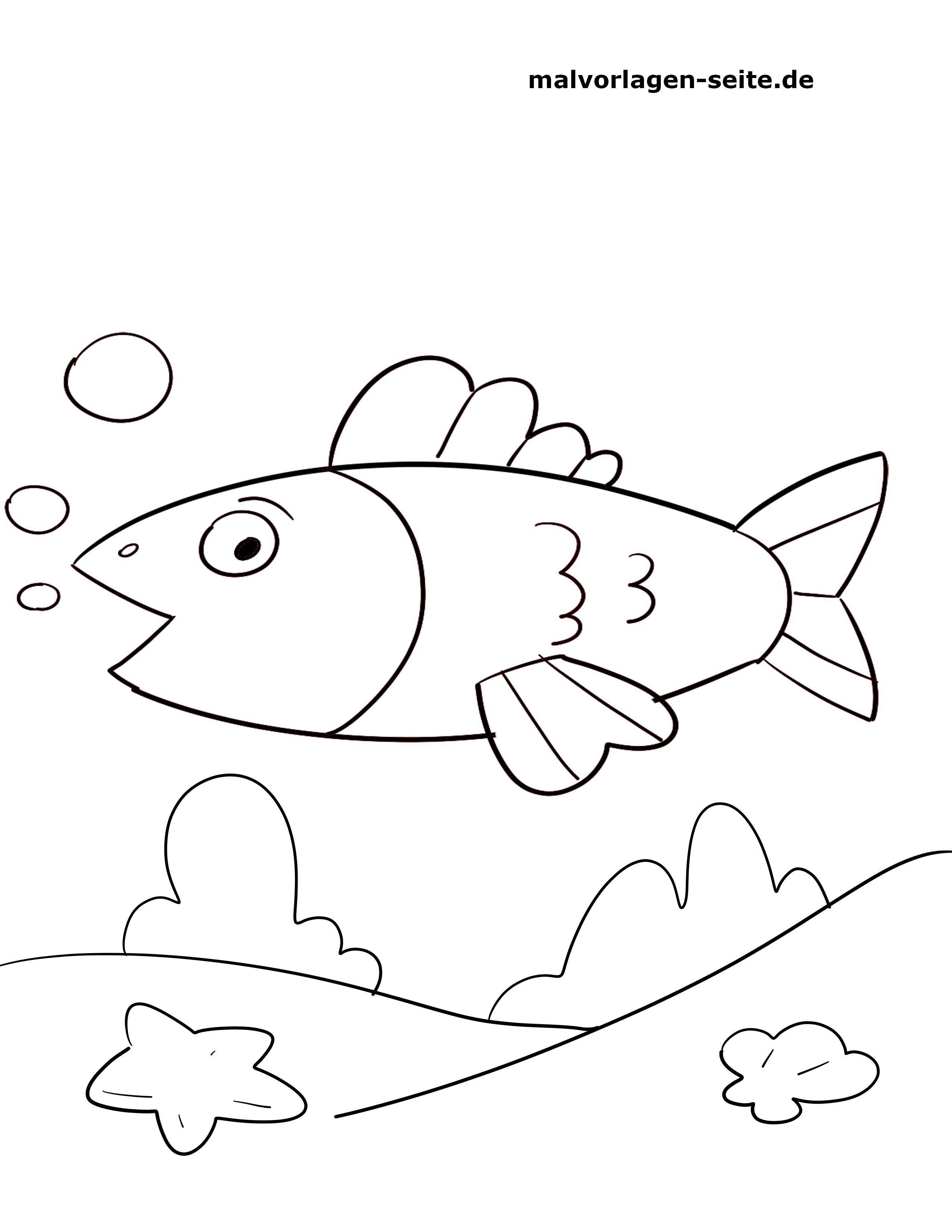 Malvorlage Kleine Kinder Fisch