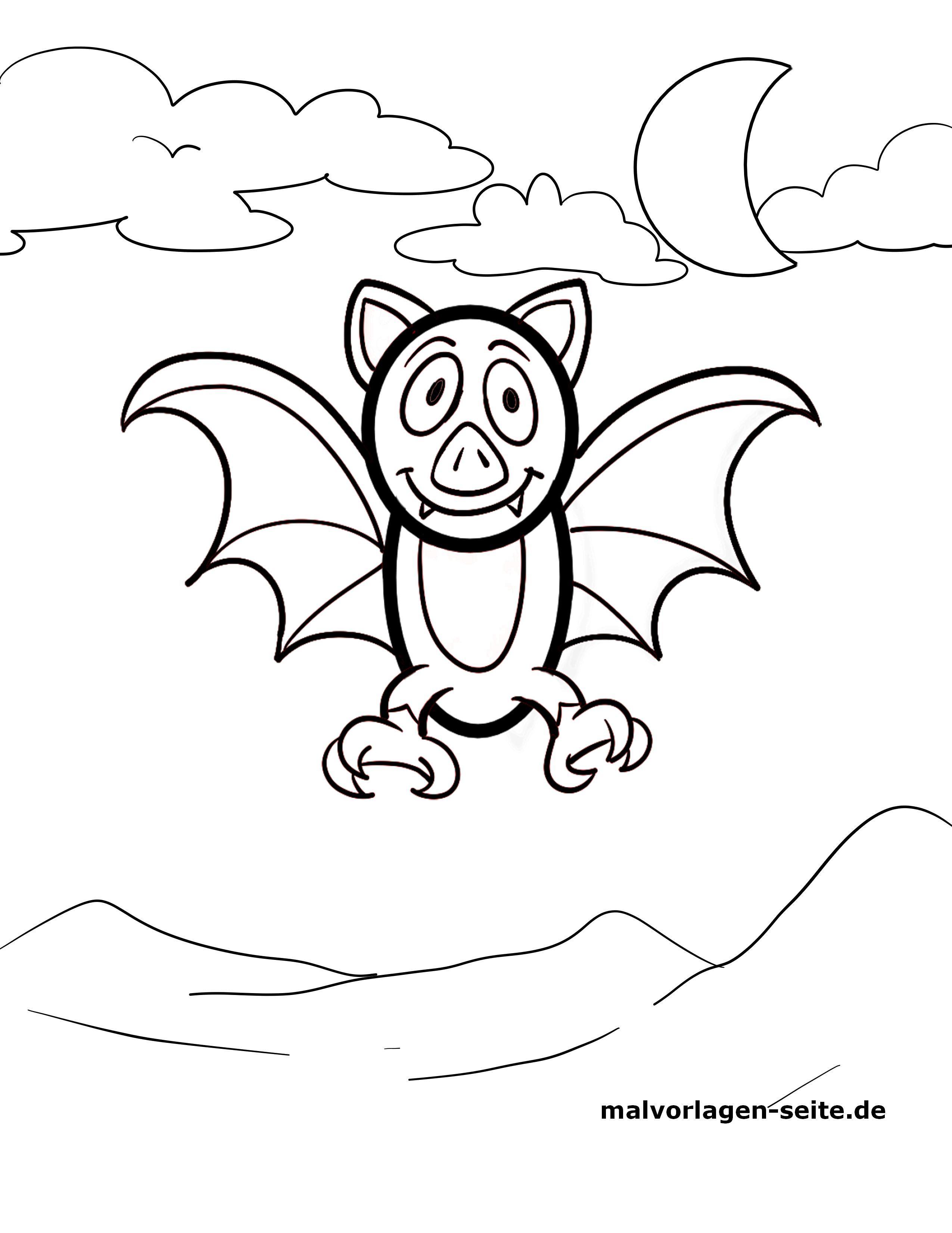 Malvorlage kleine Kinder - Fledermaus - Kostenlose Ausmalbilder