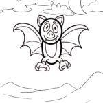 Malvorlage kleine Kinder - Fledermaus