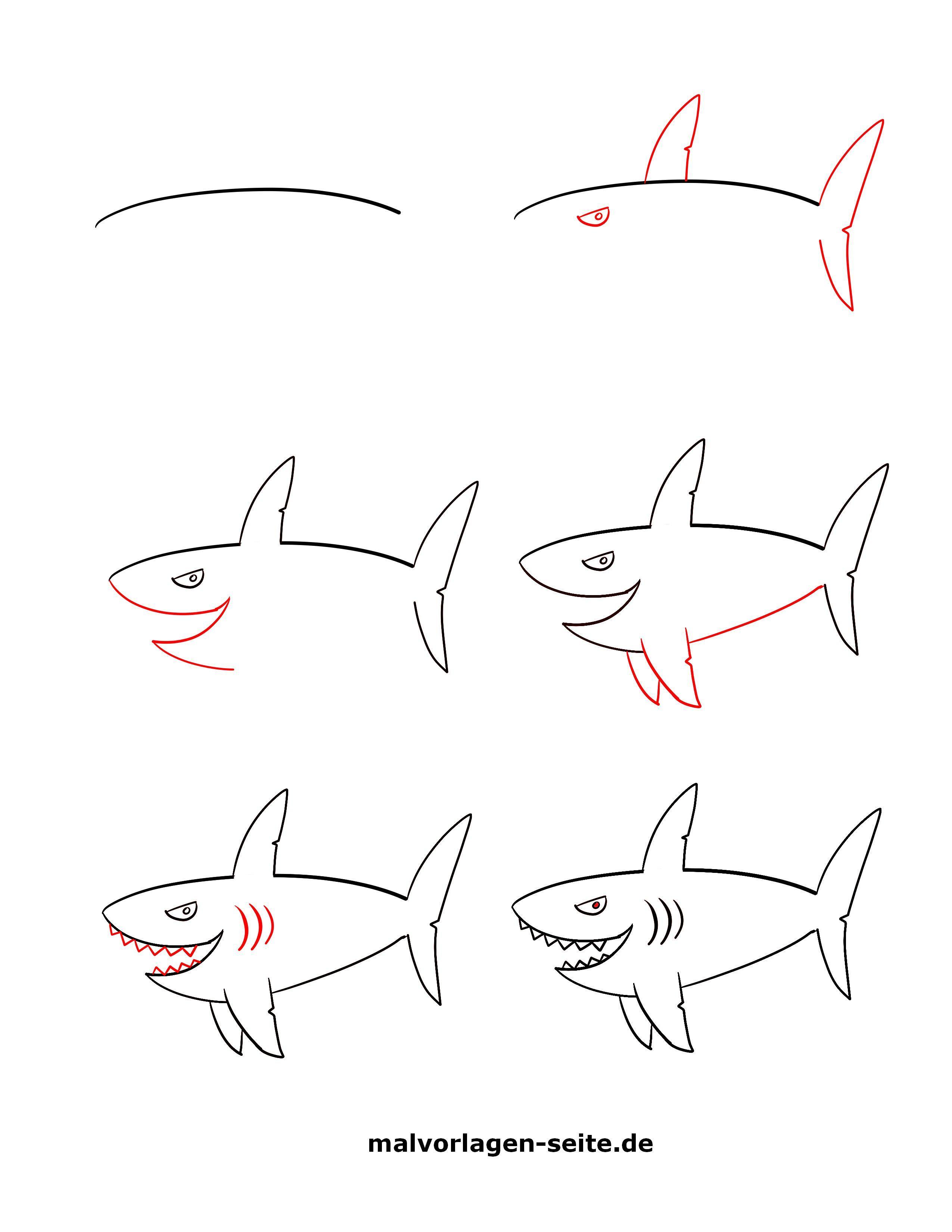 ausmalbild taucher hai  cartoonbild
