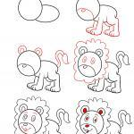 Template lion draw instructions