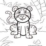Coloring page little kids - tiger
