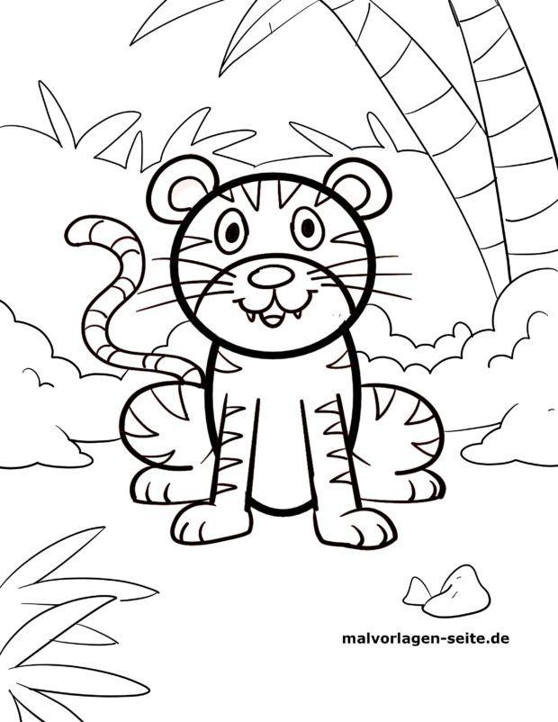 Malvorlage für kleine Kinder - Tiger