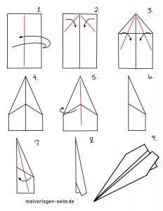 Papierflugzeug basteln mit Faltanleitung
