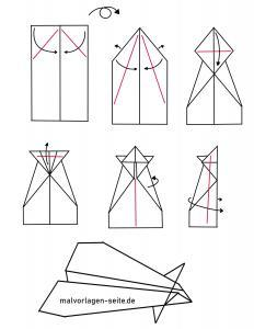 Papierflieger falten Anleitung zum Ausdrucken