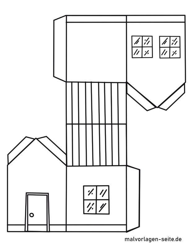 Vorlage Papierhaus basteln