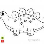Painting by numbers for children - dinosaurs pictures