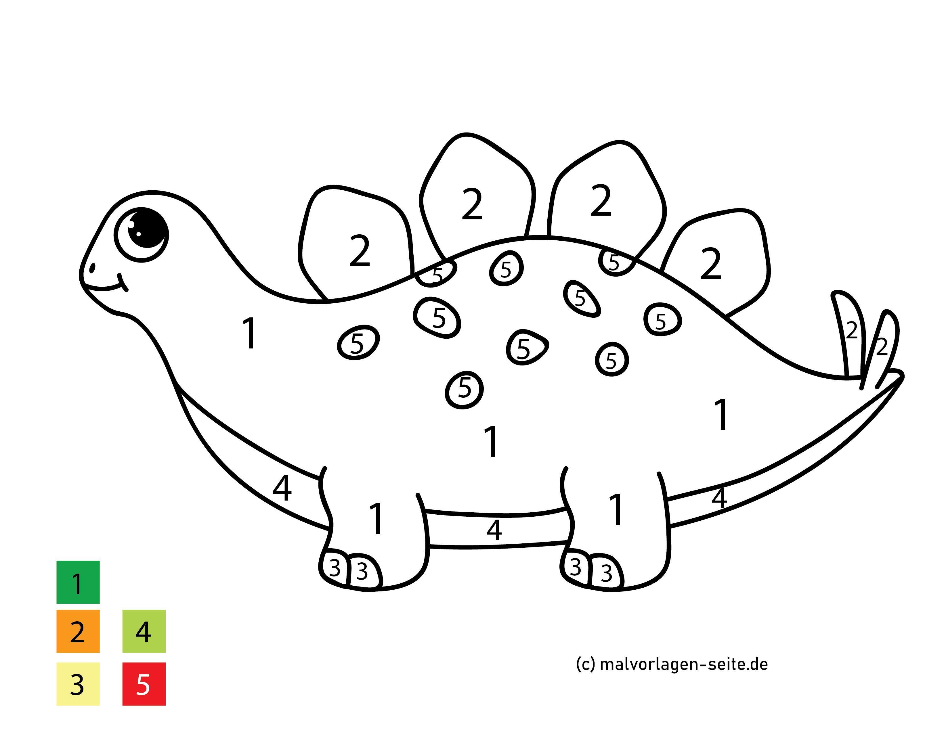 Malen nach Zahlen Dinosaurier - Kostenlose Ausmalbilder