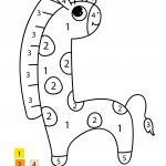Painting by numbers for small children - giraffe