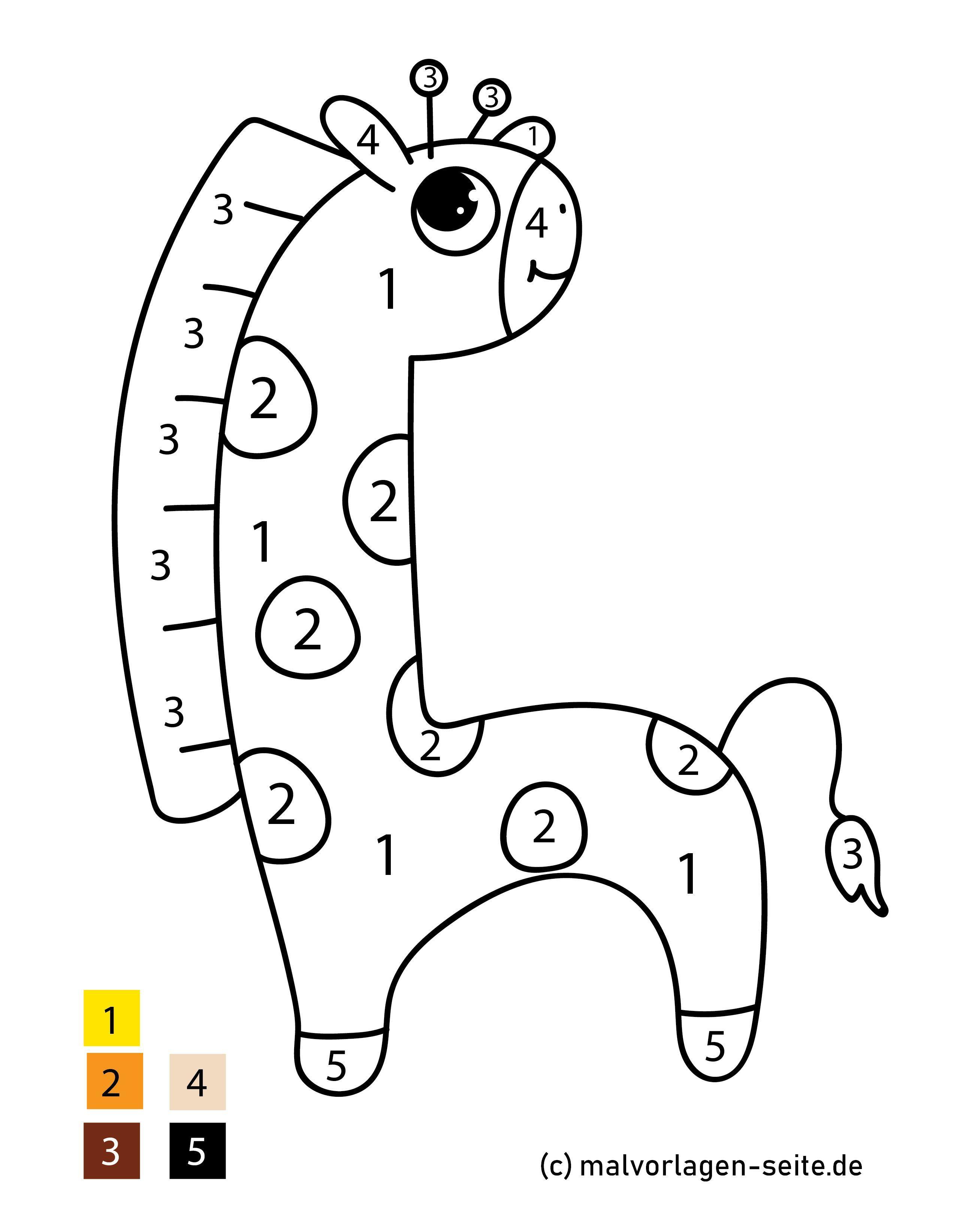 malen nach zahlen giraffe  kostenlose ausmalbilder