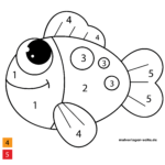 Painting by numbers for children - fish